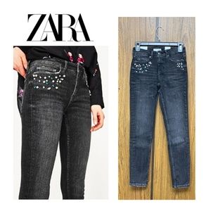 NWT Zara Black Skinny Jeans with Pearls & Jeweled